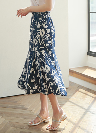 JIEL Flower rear banding Linen Skirt