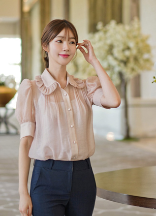 ♤ Same Day Shipping ♤ <br> Duel See-through look Frill Blouse <br> <b><FONT color=#980000>[20% discount]</font></b>