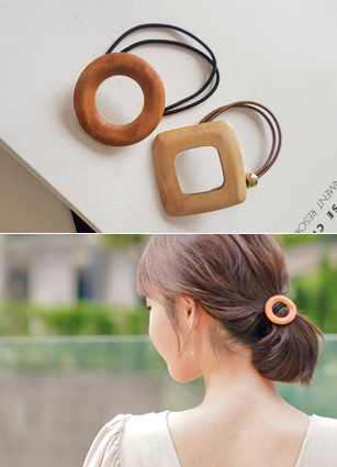 Square Ann Circular Wood Hair Strap