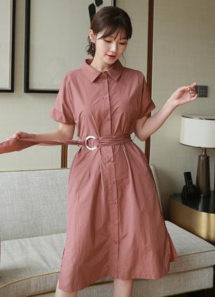 <b><FONT color=#980000>new</font></b> <br> Pinteok Shirt One-piece dress (Belt set) <B>(FREE, L)</b>