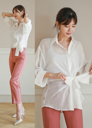 Center Ribbon Bundle See-through look Shirt