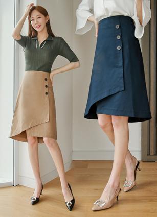 Charlotte Button ALine Skirt <B>(S, M)</b>