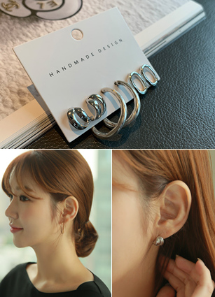 (Three sets) Metal ring earring
