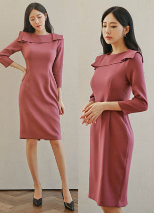 MOMO Pin Tuck Double Color Slim One-piece dress <br>