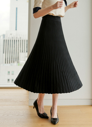 Kerin Pleats ALine Knit Skirt