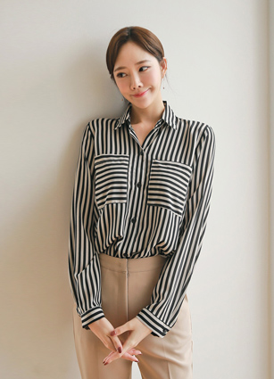 <b><FONT color=#980000>New 10% discount</font></b> <br> Clé Stripe Pocket Blouse