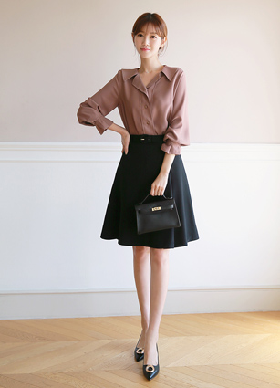 <b><FONT color=#980000>CodySET12% discount</font></b> <br> Bolton Kara Pinteok Blouse <br> + Prime ALine Skirt (Belt set)