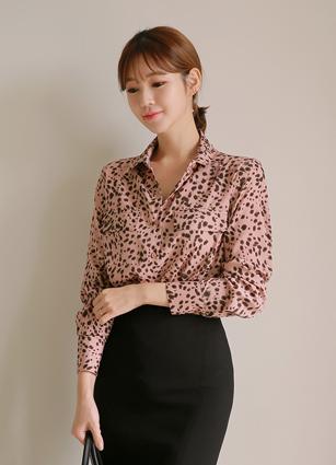 Arte Pocket Leopard Blouse <br>
