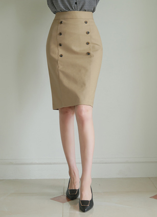 Clean Double Button H Skirt (S, M, L)