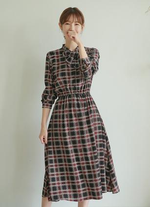 Audrey Ribbon Check One-piece dress