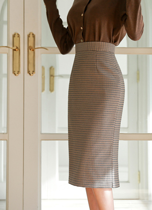 Rinna Check Midi H Skirt (S, M)
