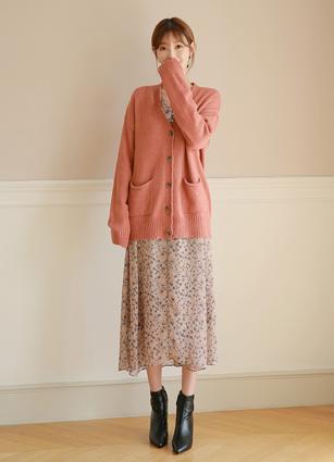<b><FONT color=#980000>CodySET11% discount</font></b> <br> Honey Alpaca Wool Cardigan <br> + Xila Chiffon Long One-piece dress