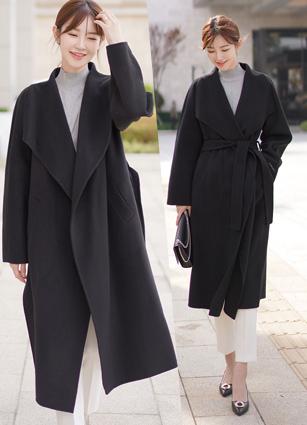 <b><FONT color=#980000>Premium handmade</font></b> <br> (Black) Max Shawl handmade Wool Coat