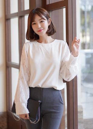 Anna Flower Sleeve Blouse