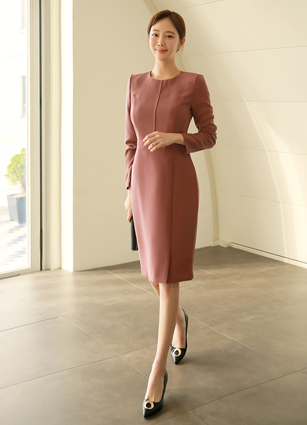 <b><FONT color=#980000>Today only! This price</font></b> <br> Carol Incision Slim One-piece dress (S, M, L)