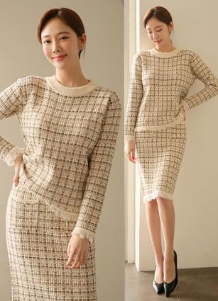 Briel Metal Tweed Knit Two Piece (Knit + Skirt 2ps)