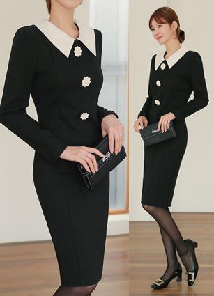 Louis Flower Button Appearance One-piece dress (S, M) <br>