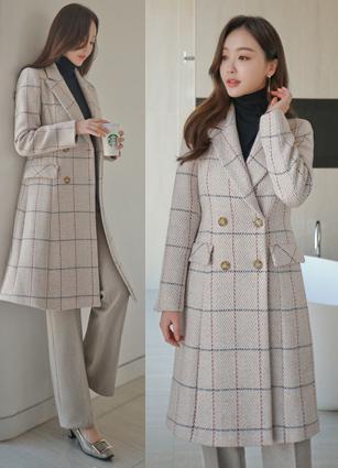 Nouvelle Lady Check Wool Long Coat (S, M, L) <br>