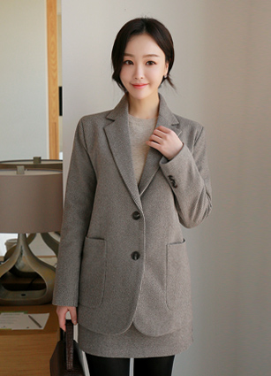 Henry Check Wool Jacket <br>