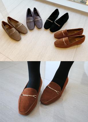 """Jordan Buckle Fur Lining Loafers <font color=""""#ed1558""""><b>[Heel: 2.3cm]</b></font> <br>"""