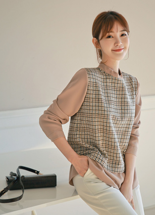 Weekly Check Ringer Blouse <br>