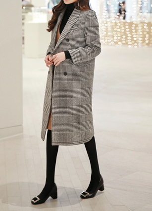French Wool Check Long Coat <br>