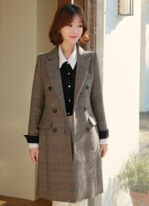 Classic Check Wool Long Coat (S, M, L) <br>