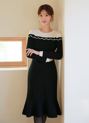 <b><FONT color=#980000>New 10%</font></b> <br> Elbon Wave Knit One-piece dress <br>