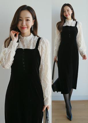 Cornell Bustier Velvet One-piece dress <br>