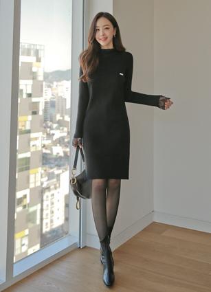 Siena Lace Knit One-piece dress (Broach set) <br>