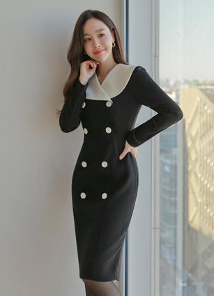 <b><FONT color=#980000>New 10%</font></b> <br> Hazel Big Cara Double One-piece dress (S, M, L) <br>