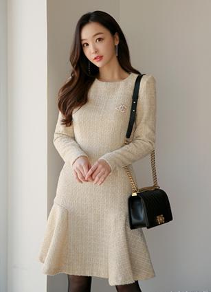 <b><FONT color=#980000>New 10%</font></b> <br> Armand Tweed Wool One-piece dress (S, M, L) <br>