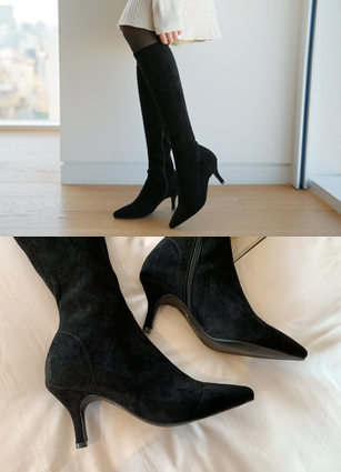 "Solid Span Long Boots <br> <font color=""#ed1558""><b>[Heel: 7cm]</b></font>"