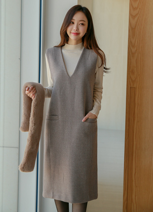 Eva Best Wool One-piece dress (FREE, L) <br>