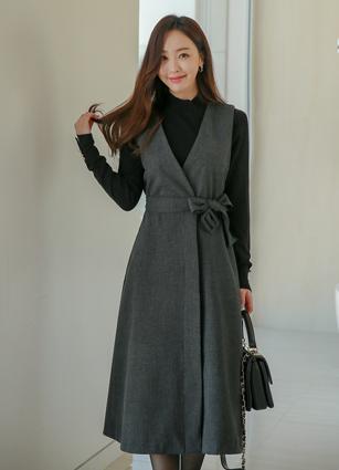 Eloy ALine Long One-piece dress (Belt set) (FREE, L) <br>