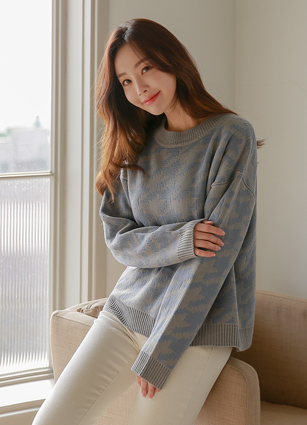 Hound Tooth Round Knit <br> <FONT color=#998A00>Expect to sell out early! Restock when sold out can not!</font> <br>