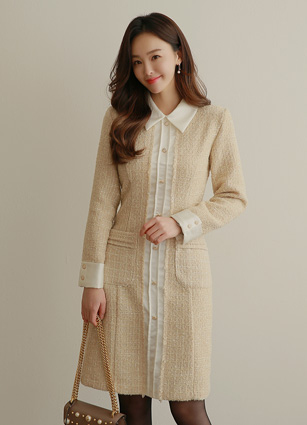 <b><FONT color=#980000>New 10%</font></b> <br> Says Appearance Tweed One-piece dress (S, M) <br>