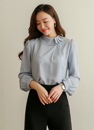 Bordeaux Pintuck Neck Blouse <br>