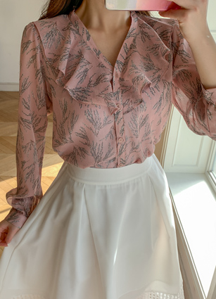 <b><FONT color=#980000>Today only! This price</font></b> <br> Shar VFrill Chiffon Blouse <br>