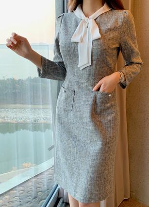 Revela Ribbon Tweed One-piece dress (S, M, L)