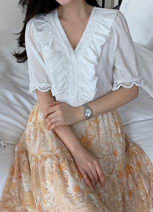 Fuel Lace Frill Blouse <br>