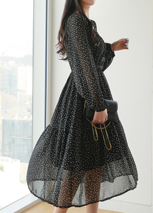 Floor Hair Band Pattern Chiffon One-piece dress <br>
