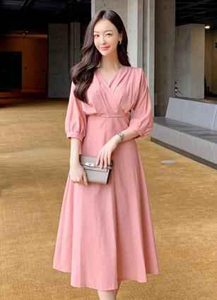 Valen Shirring Wrap One-piece dress <br>