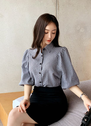 Laurent Check Puff Blouse <br>