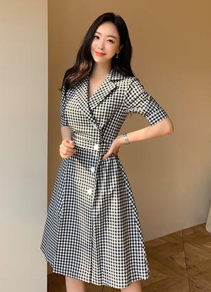 Grace Check Kara One-piece dress (S, M) <br>
