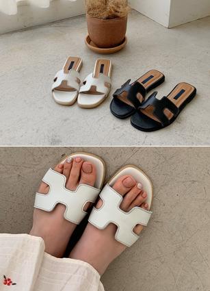 """H Sheepskin Sandals <font color=""""#ed1558""""><b>[Heel:1.3cm]</b> <br></font>"""