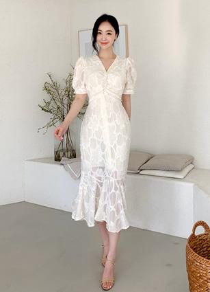 Dali Feather Shirring One-piece dress <br>