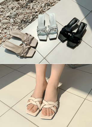"""Kink Mule Sandals <font color=""""#ed1558""""><b>[Heel: 4cm]</b> <br></font>"""