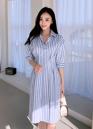 <FONT color=#1E96FF>Thank you! As soon as you upload, the order is running out</font> <br> Frame Pinteok Stripe One-piece dress (S, M, L) <br>