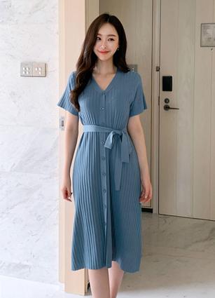 Plain Button Knit One-piece dress (Stringset) <br>